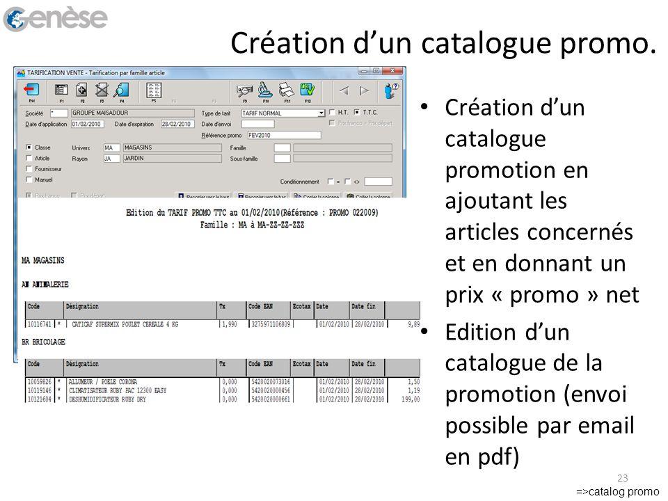 Création dun catalogue promo. Création dun catalogue promotion en ajoutant les articles concernés et en donnant un prix « promo » net Edition dun cata