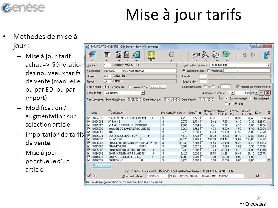 Mise à jour tarifs Méthodes de mise à jour : – Mise à jour tarif achat => Génération des nouveaux tarifs de vente (manuelle ou par EDI ou par import)