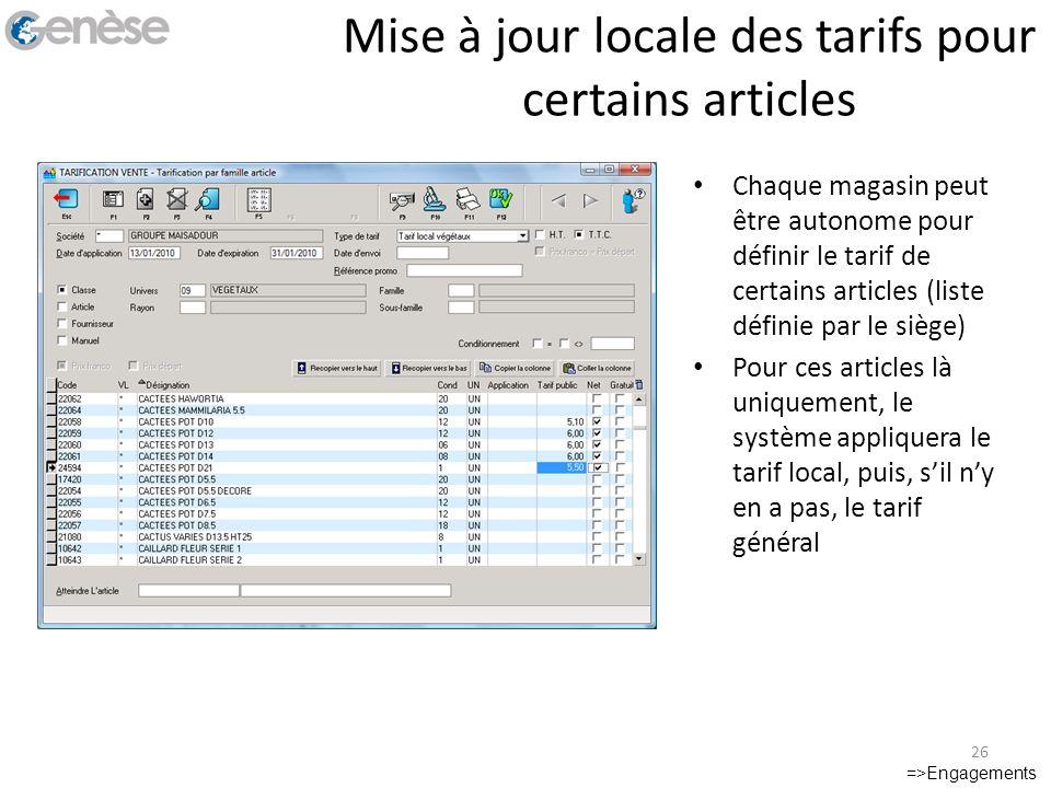 Mise à jour locale des tarifs pour certains articles =>Engagements 26 Chaque magasin peut être autonome pour définir le tarif de certains articles (li