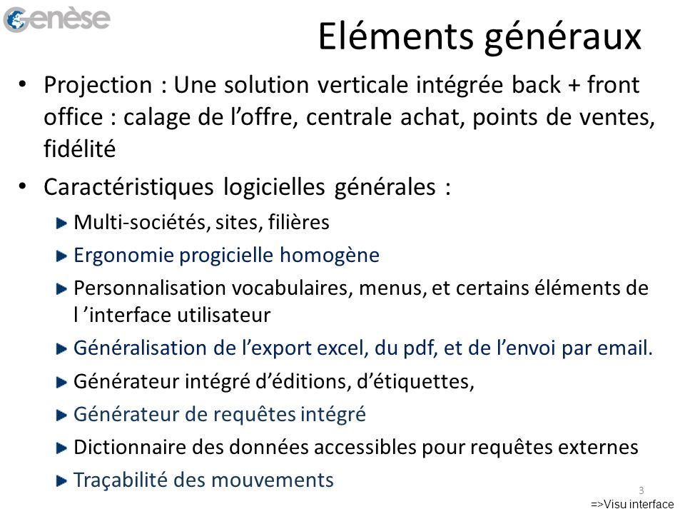 Référencement produit Fiche article Informations générales : – Ean, désignation, classification, statut, unité,..