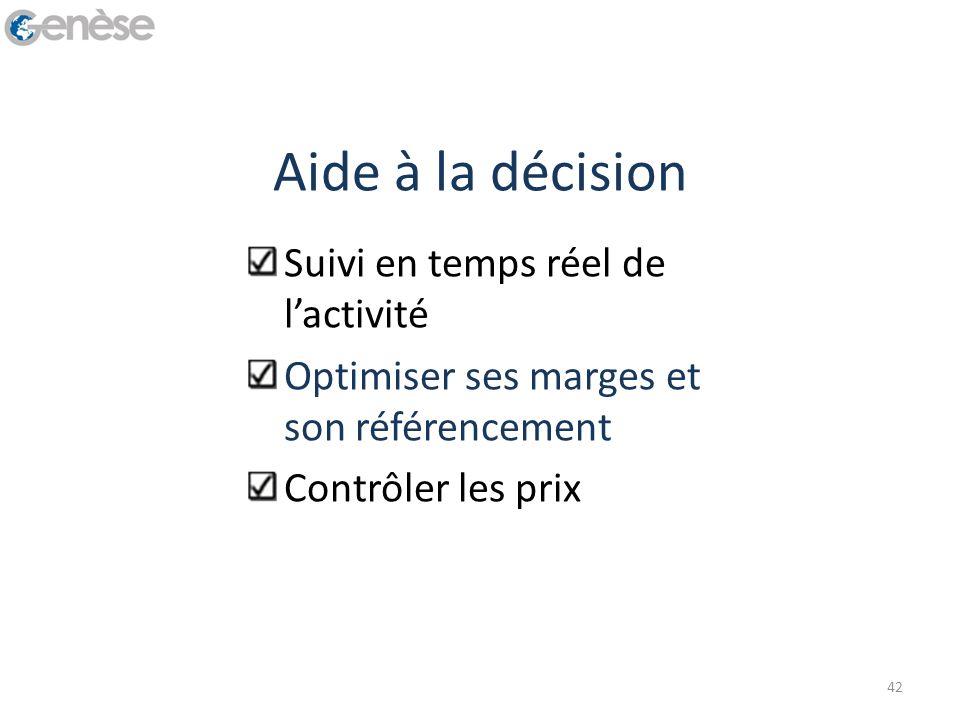 Aide à la décision Suivi en temps réel de lactivité Optimiser ses marges et son référencement Contrôler les prix 42