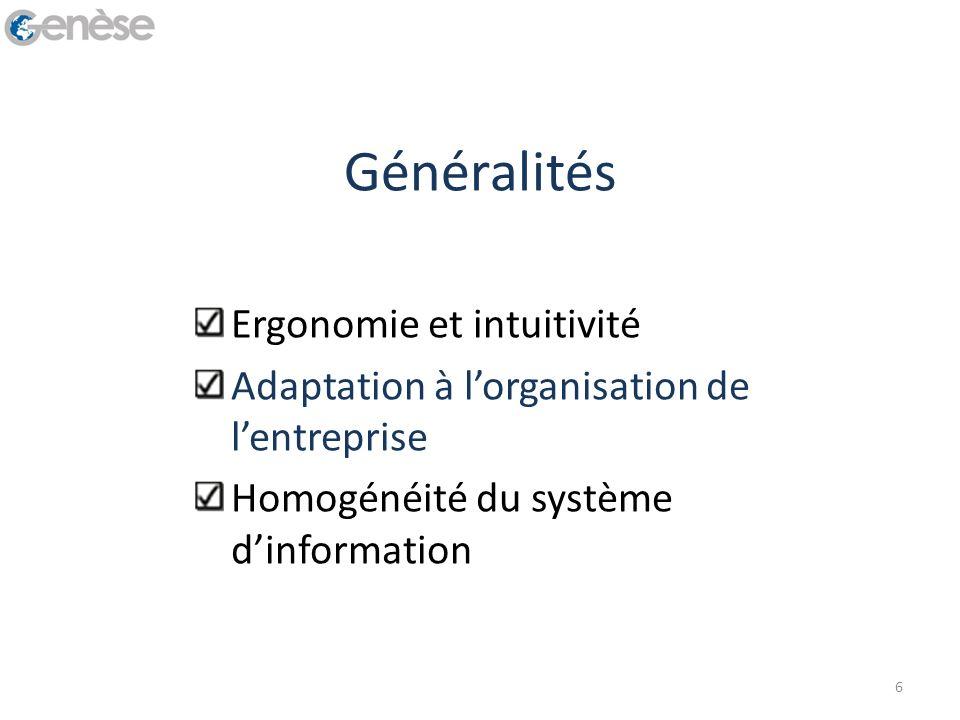 Généralités Ergonomie et intuitivité Adaptation à lorganisation de lentreprise Homogénéité du système dinformation 6