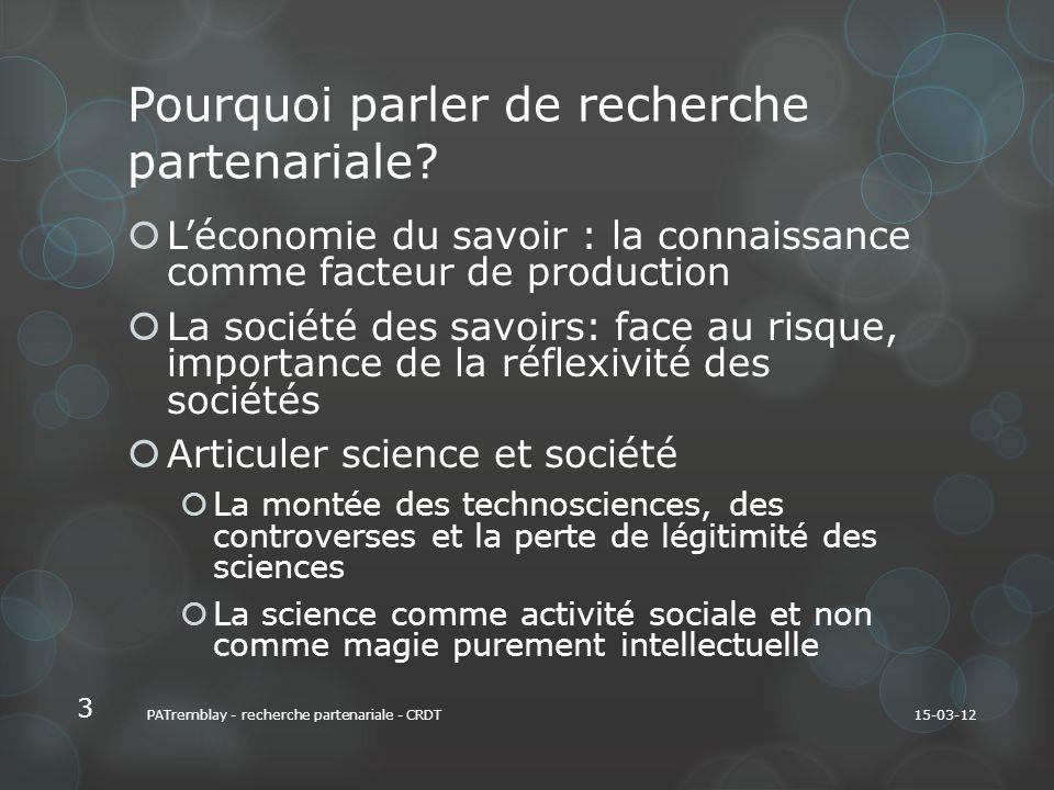 Pourquoi parler de recherche partenariale.