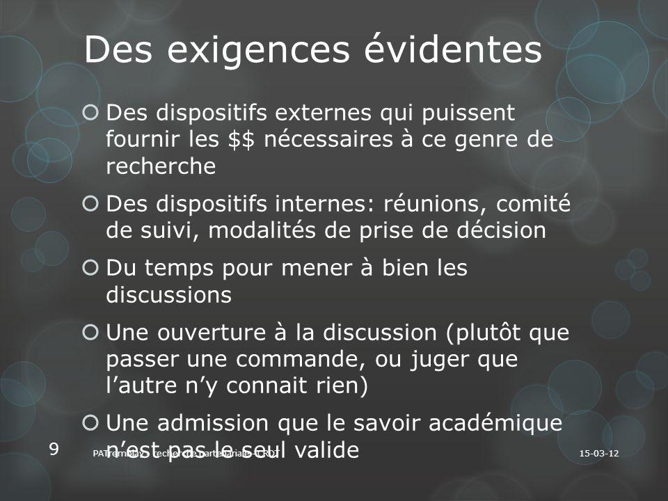 La rencontre de mondes sociaux distincts Les « identités de recherche » en présence sont institutionnellement définies: acteurs-terrain, universitaires Pas de moyen terme.