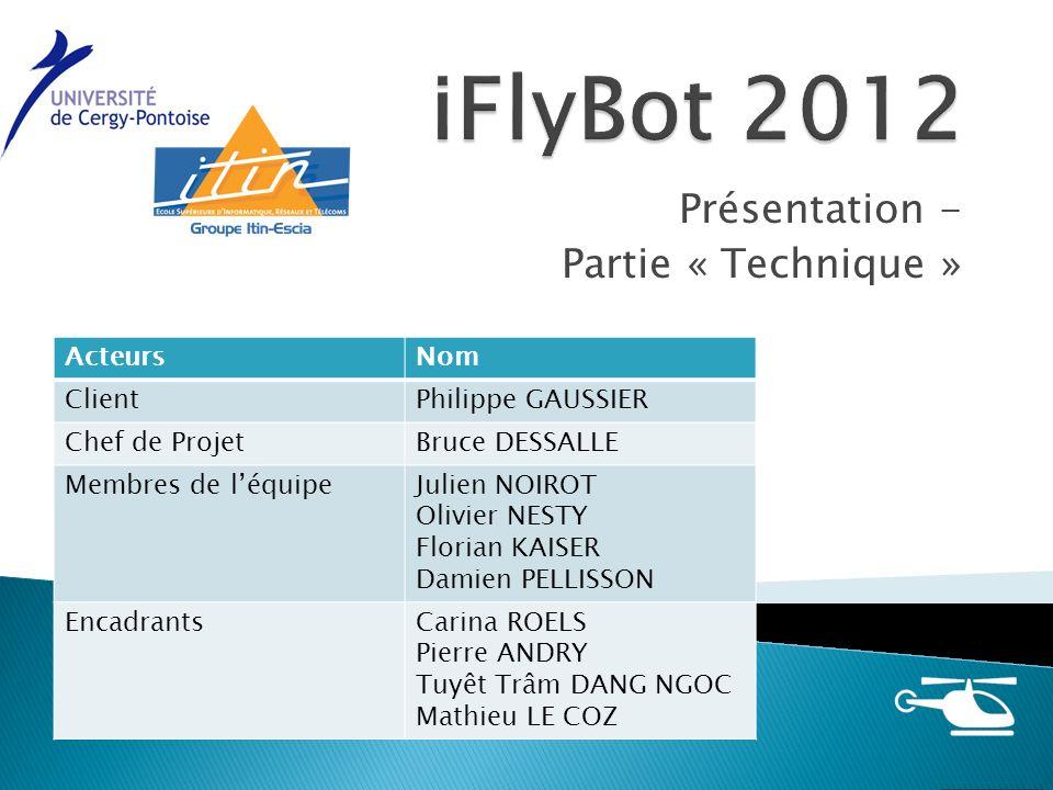22 Présentation finale iFlyBot2012 - Partie Technique Présentation Solutions techniques RéalisationSynthèseBilan