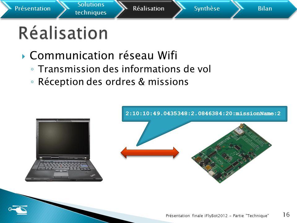 Communication réseau Wifi Transmission des informations de vol Réception des ordres & missions 16 Présentation finale iFlyBot2012 - Partie