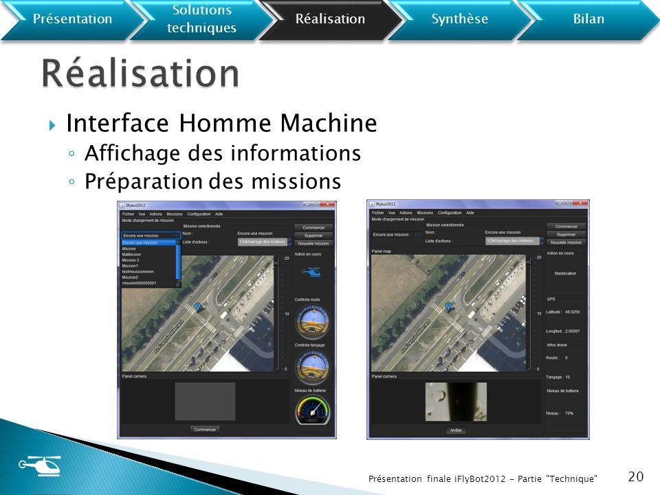 Interface Homme Machine Affichage des informations Préparation des missions 20 Présentation finale iFlyBot2012 - Partie