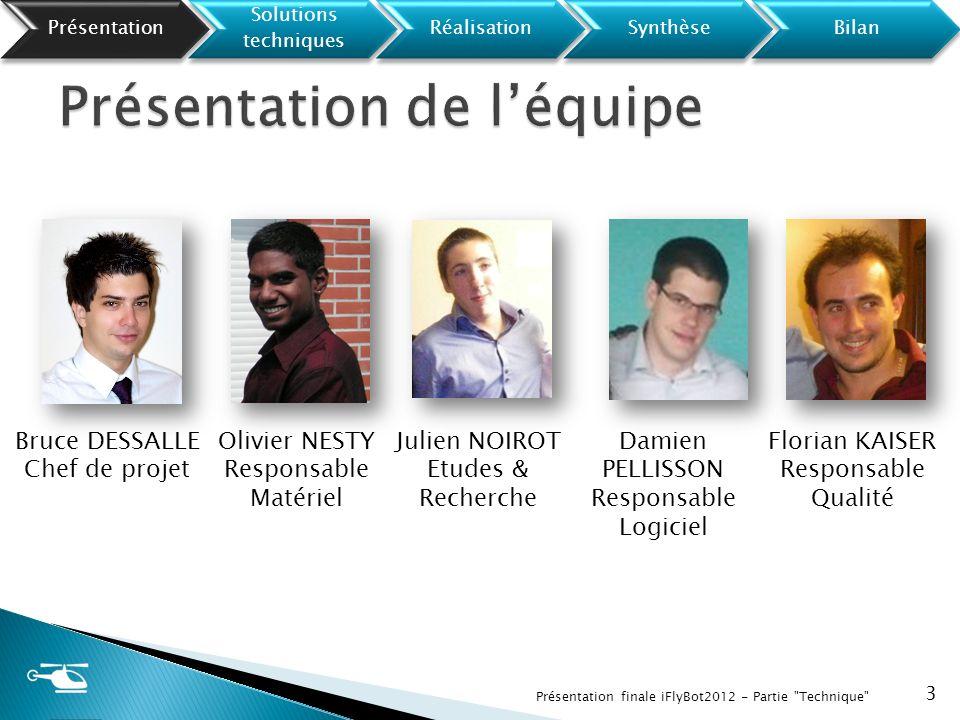24 Présentation finale iFlyBot2012 - Partie Technique Présentation Solutions techniques RéalisationSynthèseBilan
