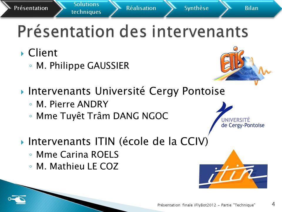 Client M. Philippe GAUSSIER Intervenants Université Cergy Pontoise M. Pierre ANDRY Mme Tuyêt Trâm DANG NGOC Intervenants ITIN (école de la CCIV) Mme C