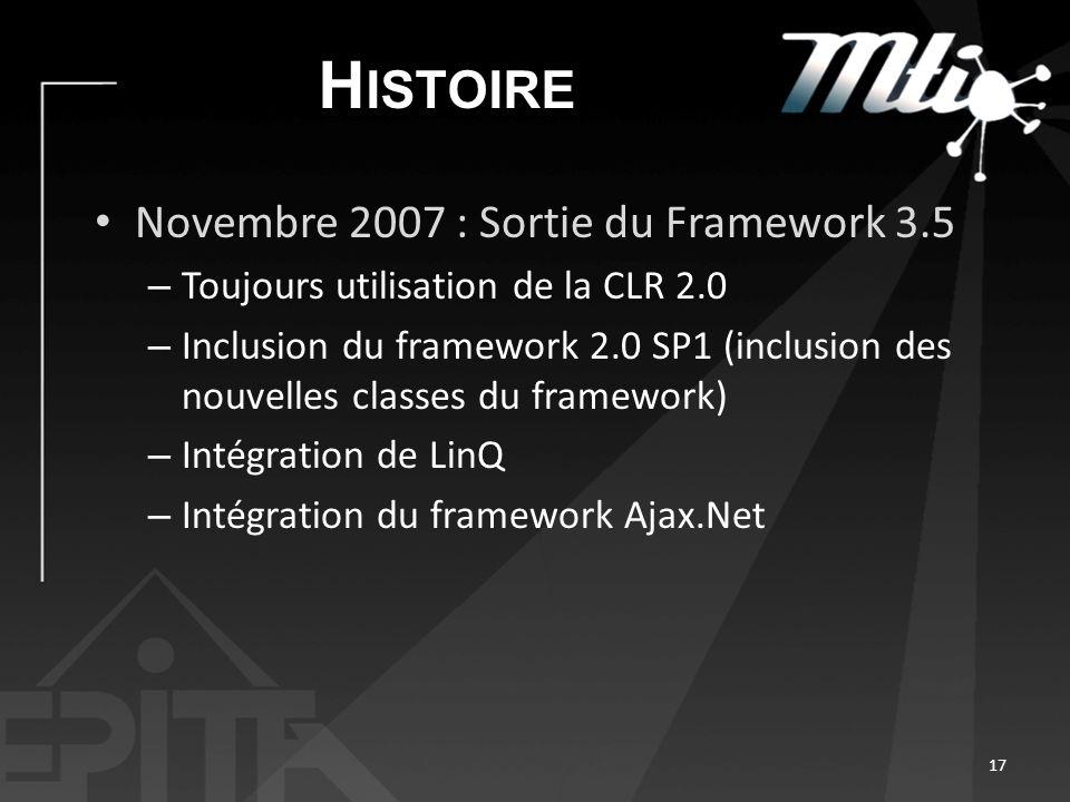 H ISTOIRE Novembre 2007 : Sortie du Framework 3.5 – Toujours utilisation de la CLR 2.0 – Inclusion du framework 2.0 SP1 (inclusion des nouvelles classes du framework) – Intégration de LinQ – Intégration du framework Ajax.Net 17