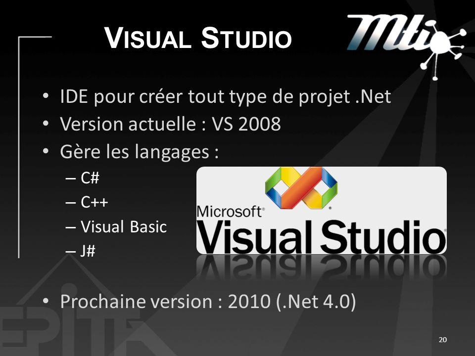 V ISUAL S TUDIO IDE pour créer tout type de projet.Net Version actuelle : VS 2008 Gère les langages : – C# – C++ – Visual Basic – J# Prochaine version : 2010 (.Net 4.0) 20