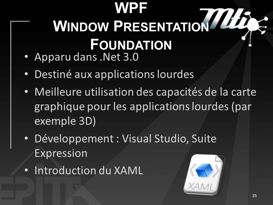 WPF W INDOW P RESENTATION F OUNDATION Apparu dans.Net 3.0 Destiné aux applications lourdes Meilleure utilisation des capacités de la carte graphique pour les applications lourdes (par exemple 3D) Développement : Visual Studio, Suite Expression Introduction du XAML 25