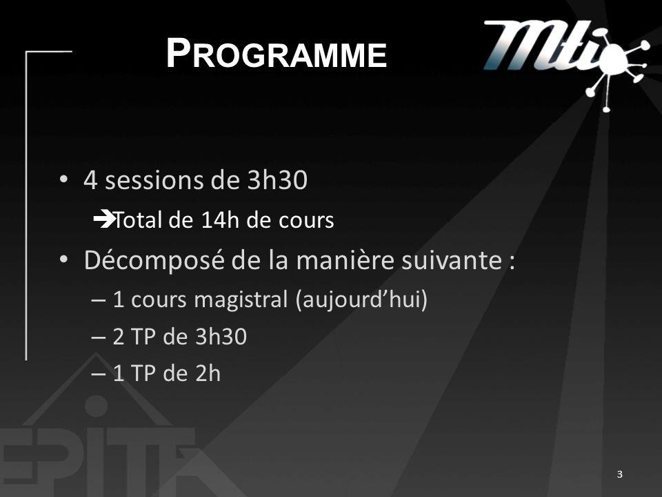 P ROGRAMME 4 sessions de 3h30 Total de 14h de cours Décomposé de la manière suivante : – 1 cours magistral (aujourdhui) – 2 TP de 3h30 – 1 TP de 2h 3