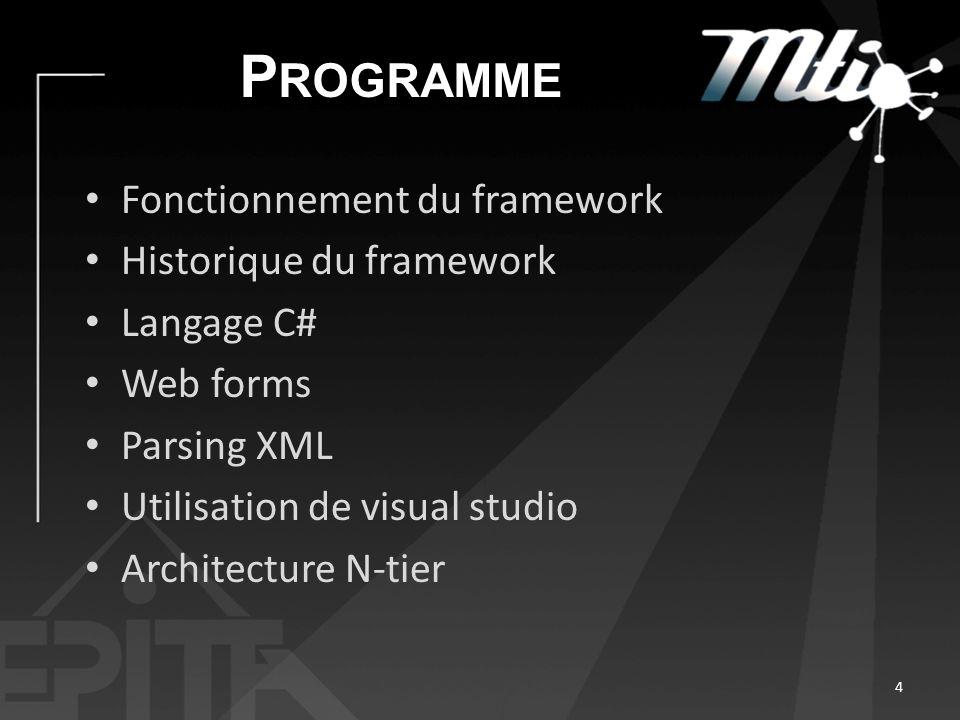 P ROGRAMME Fonctionnement du framework Historique du framework Langage C# Web forms Parsing XML Utilisation de visual studio Architecture N-tier 4