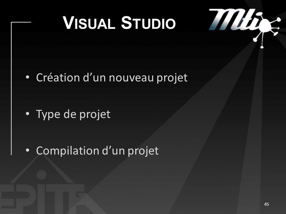 V ISUAL S TUDIO Création dun nouveau projet Type de projet Compilation dun projet 45