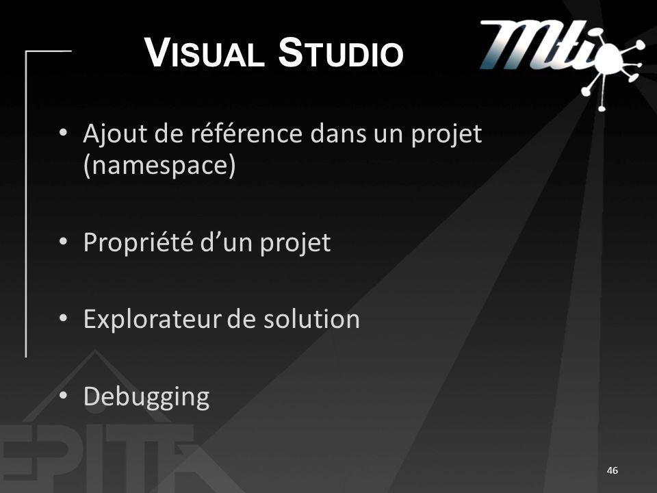 V ISUAL S TUDIO Ajout de référence dans un projet (namespace) Propriété dun projet Explorateur de solution Debugging 46