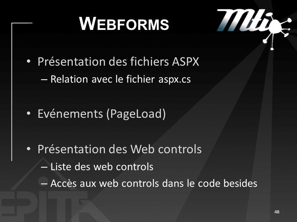 W EBFORMS Présentation des fichiers ASPX – Relation avec le fichier aspx.cs Evénements (PageLoad) Présentation des Web controls – Liste des web controls – Accès aux web controls dans le code besides 48