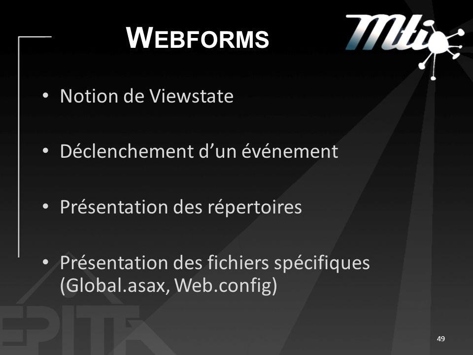 W EBFORMS Notion de Viewstate Déclenchement dun événement Présentation des répertoires Présentation des fichiers spécifiques (Global.asax, Web.config) 49