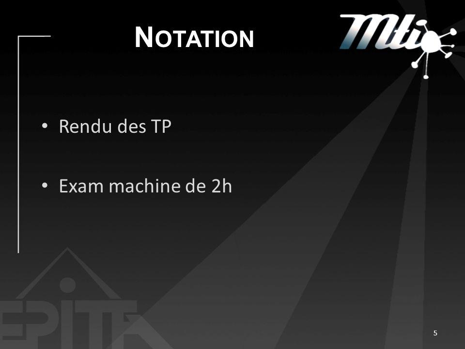 N OTATION Rendu des TP Exam machine de 2h 5