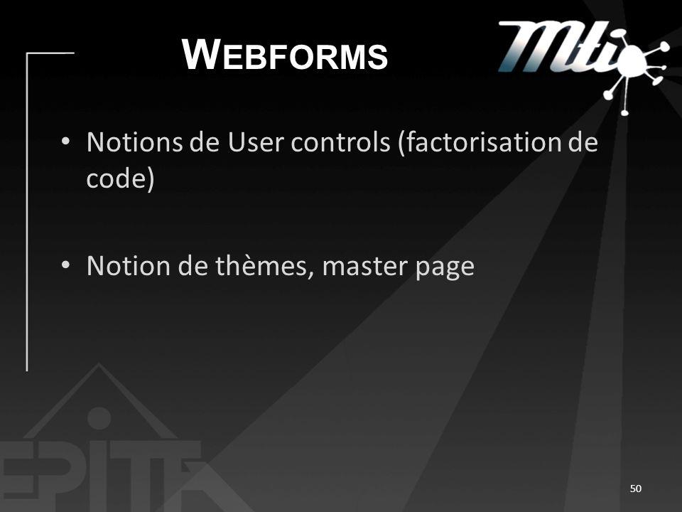 W EBFORMS Notions de User controls (factorisation de code) Notion de thèmes, master page 50