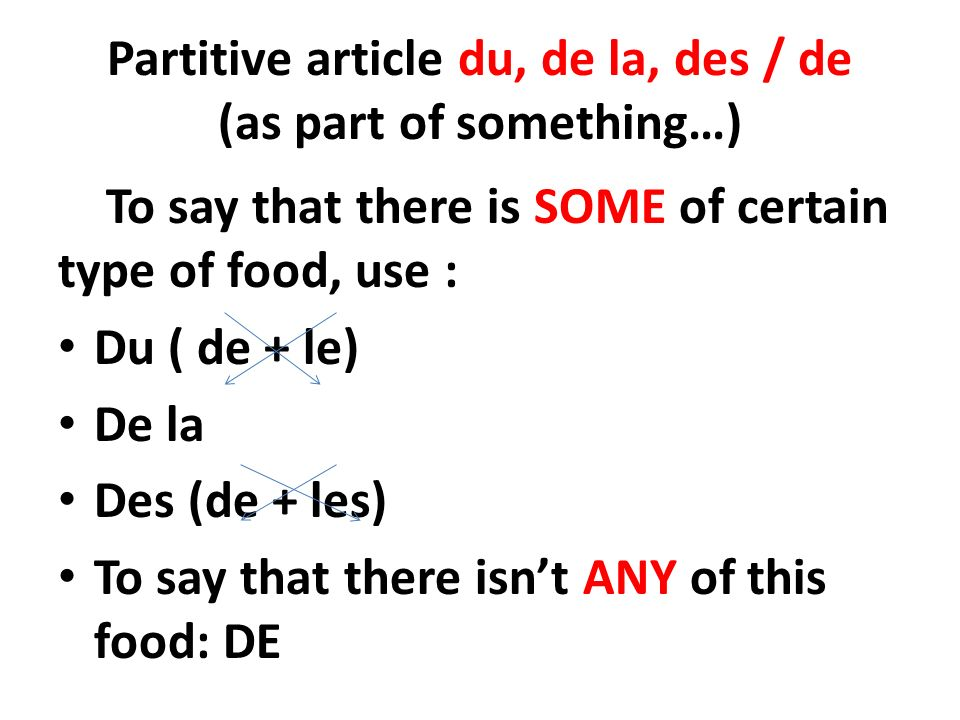 Partitive article du, de la, des / de (as part of something…) To say that there is SOME of certain type of food, use : Du ( de + le) De la Des (de + les) To say that there isnt ANY of this food: DE
