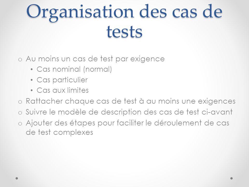 Organisation des cas de tests o Au moins un cas de test par exigence Cas nominal (normal) Cas particulier Cas aux limites o Rattacher chaque cas de te