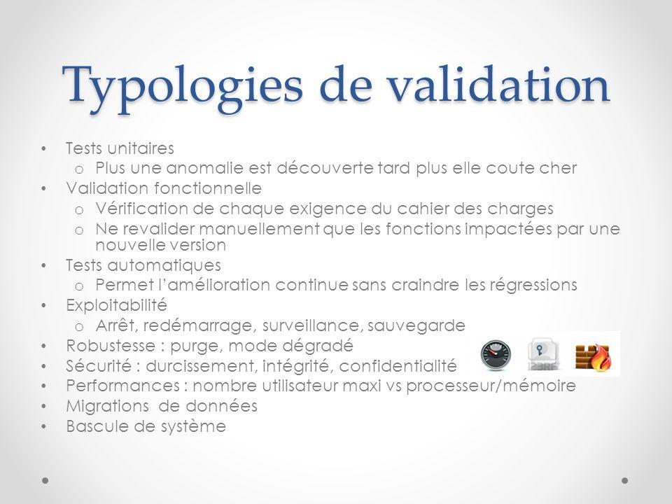 Typologies de validation Tests unitaires o Plus une anomalie est découverte tard plus elle coute cher Validation fonctionnelle o Vérification de chaqu