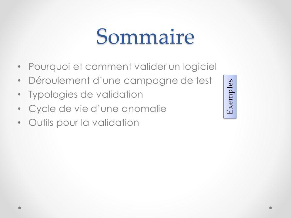 Sommaire Pourquoi et comment valider un logiciel Déroulement dune campagne de test Typologies de validation Cycle de vie dune anomalie Outils pour la