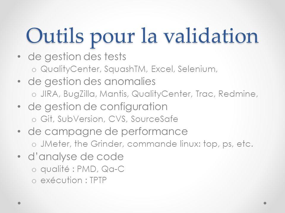 Outils pour la validation de gestion des tests o QualityCenter, SquashTM, Excel, Selenium, de gestion des anomalies o JIRA, BugZilla, Mantis, QualityC