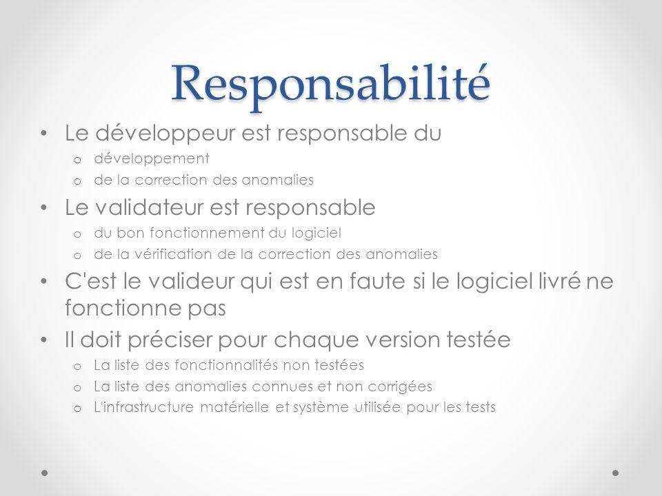 Responsabilité Le développeur est responsable du o développement o de la correction des anomalies Le validateur est responsable o du bon fonctionnemen