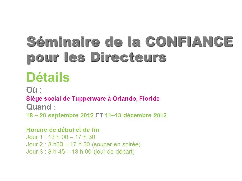 Détails Où : Siège social de Tupperware à Orlando, Floride Quand : 18 – 20 septembre 2012 ET 11–13 décembre 2012 Horaire de début et de fin Jour 1 : 1