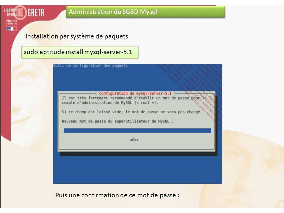 Administration du SGBD Mysql sudo aptitude install mysql-server-5.1 Installation par système de paquets Puis une confirmation de ce mot de passe :