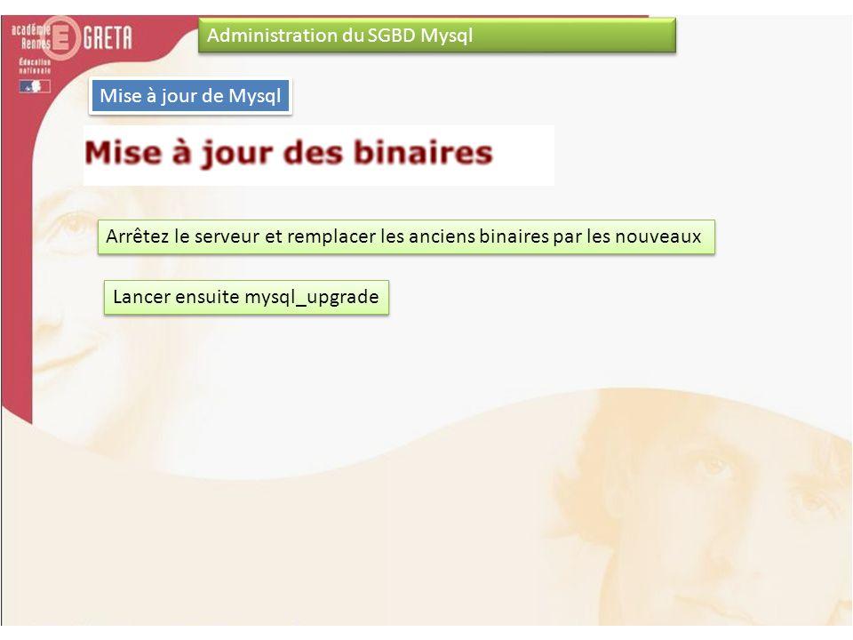 Administration du SGBD Mysql Mise à jour de Mysql Arrêtez le serveur et remplacer les anciens binaires par les nouveaux Lancer ensuite mysql_upgrade