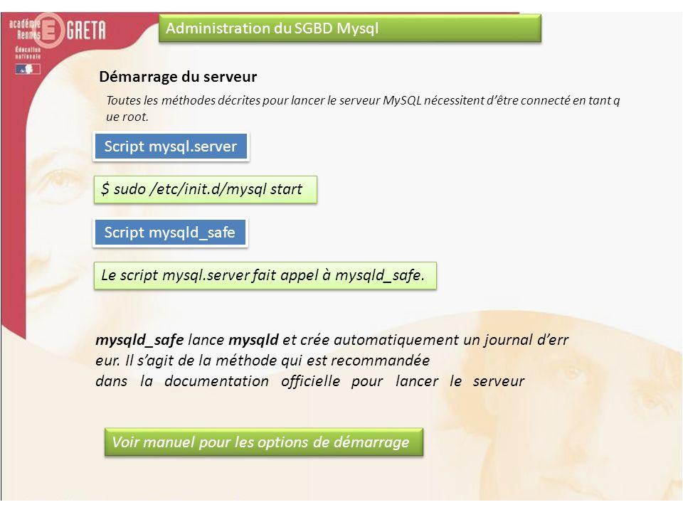 Administration du SGBD Mysql Démarrage du serveur Toutes les méthodes décrites pour lancer le serveur MySQL nécessitent dêtre connecté en tant q ue ro