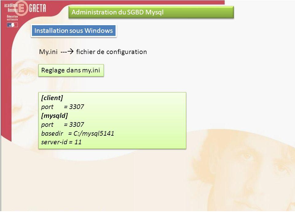 Administration du SGBD Mysql Installation sous Windows My.ini --- fichier de configuration Reglage dans my.ini [client] port = 3307 [mysqld] port = 33