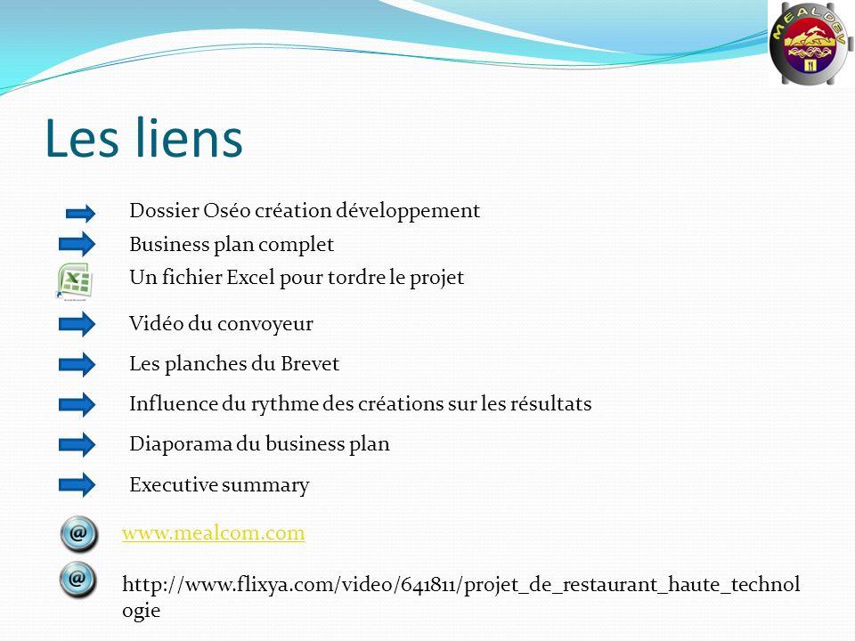 Les liens www.mealcom.com http://www.flixya.com/video/641811/projet_de_restaurant_haute_technol ogie Un fichier Excel pour tordre le projet Business p