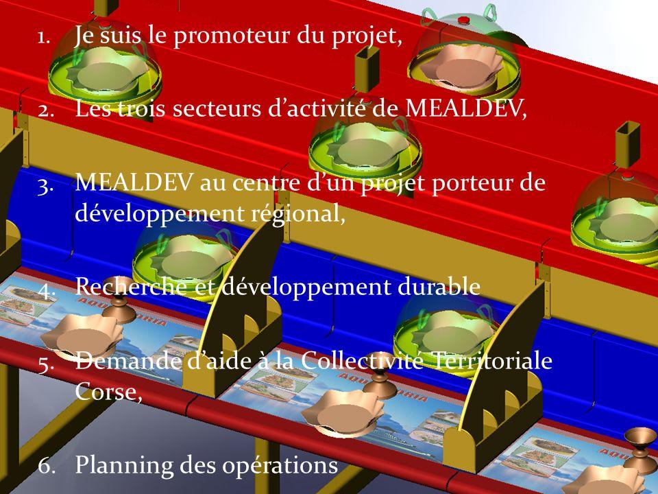 1. Je suis le promoteur du projet, 2. Les trois secteurs dactivité de MEALDEV, 3. MEALDEV au centre dun projet porteur de développement régional, 4. R