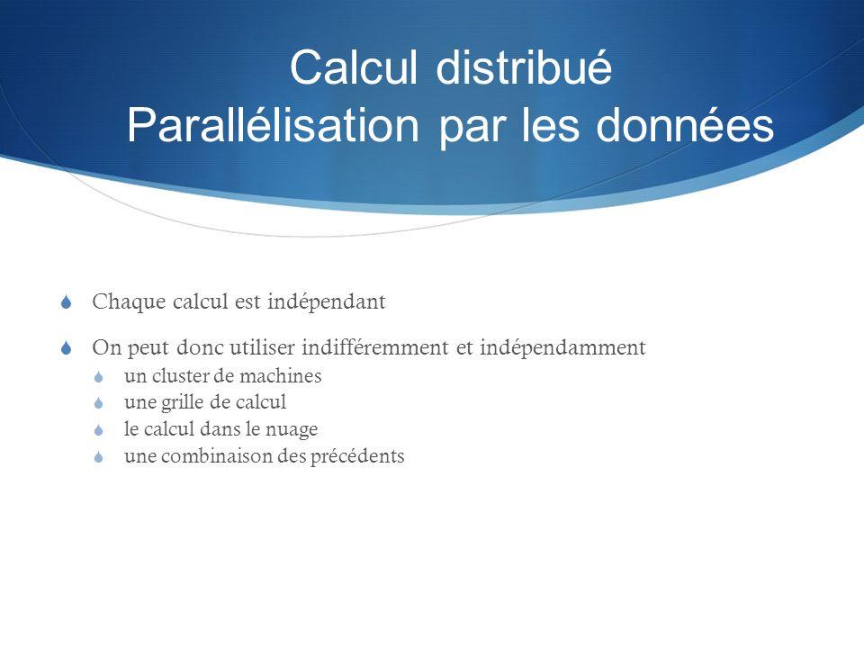 Calcul distribué Parallélisation par les données Chaque calcul est indépendant On peut donc utiliser indifféremment et indépendamment un cluster de ma