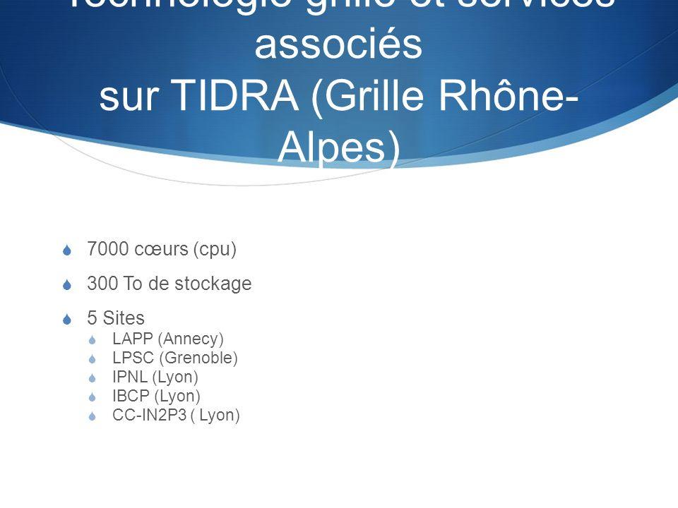 Technologie grille et services associés sur TIDRA (Grille Rhône- Alpes) 7000 cœurs (cpu) 300 To de stockage 5 Sites LAPP (Annecy) LPSC (Grenoble) IPNL
