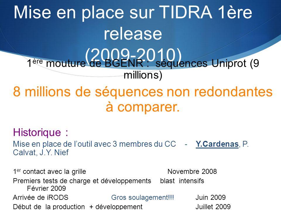 Mise en place sur TIDRA 1ère release (2009-2010) 1 ère mouture de BGENR : séquences Uniprot (9 millions) 8 millions de séquences non redondantes à com