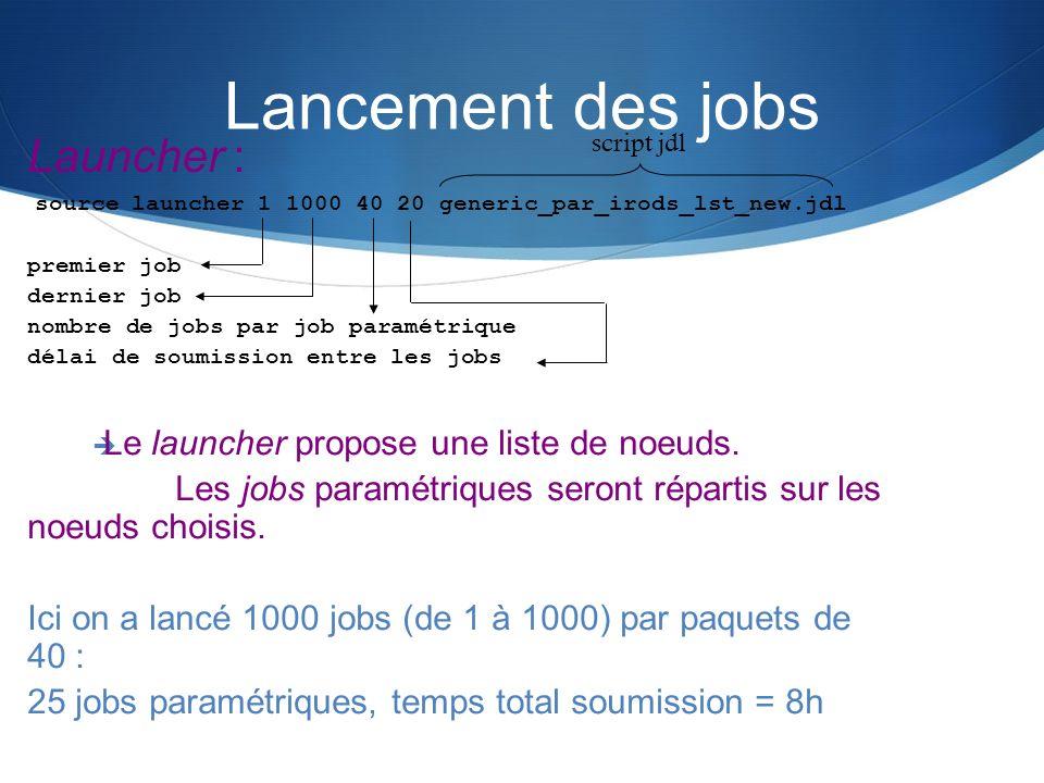 Launcher : source launcher 1 1000 40 20 generic_par_irods_lst_new.jdl premier job dernier job nombre de jobs par job paramétrique délai de soumission