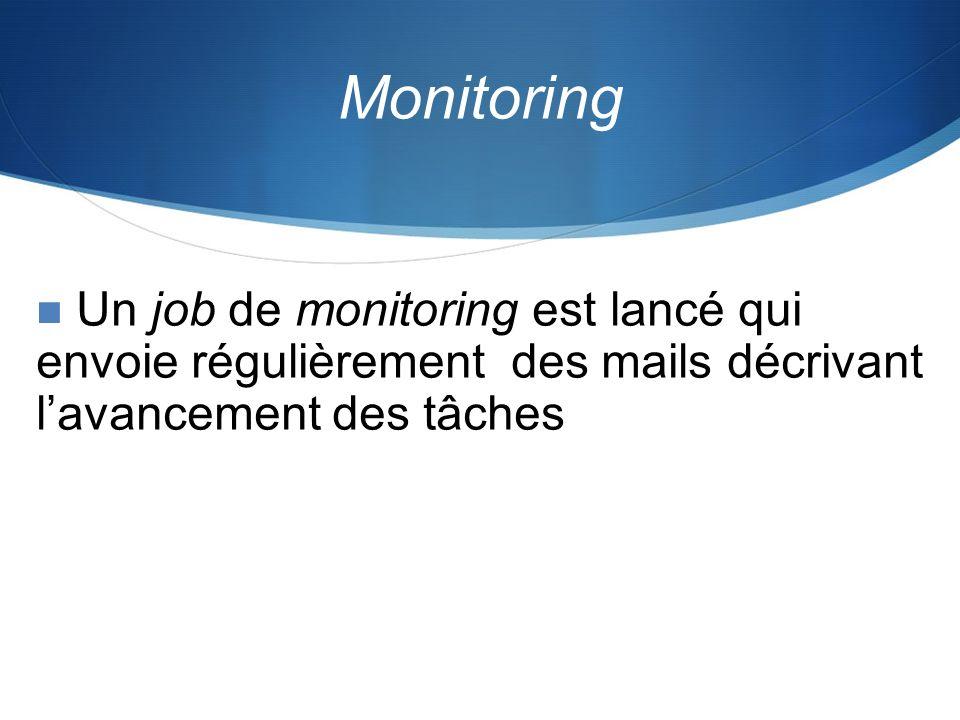 Monitoring Un job de monitoring est lancé qui envoie régulièrement des mails décrivant lavancement des tâches