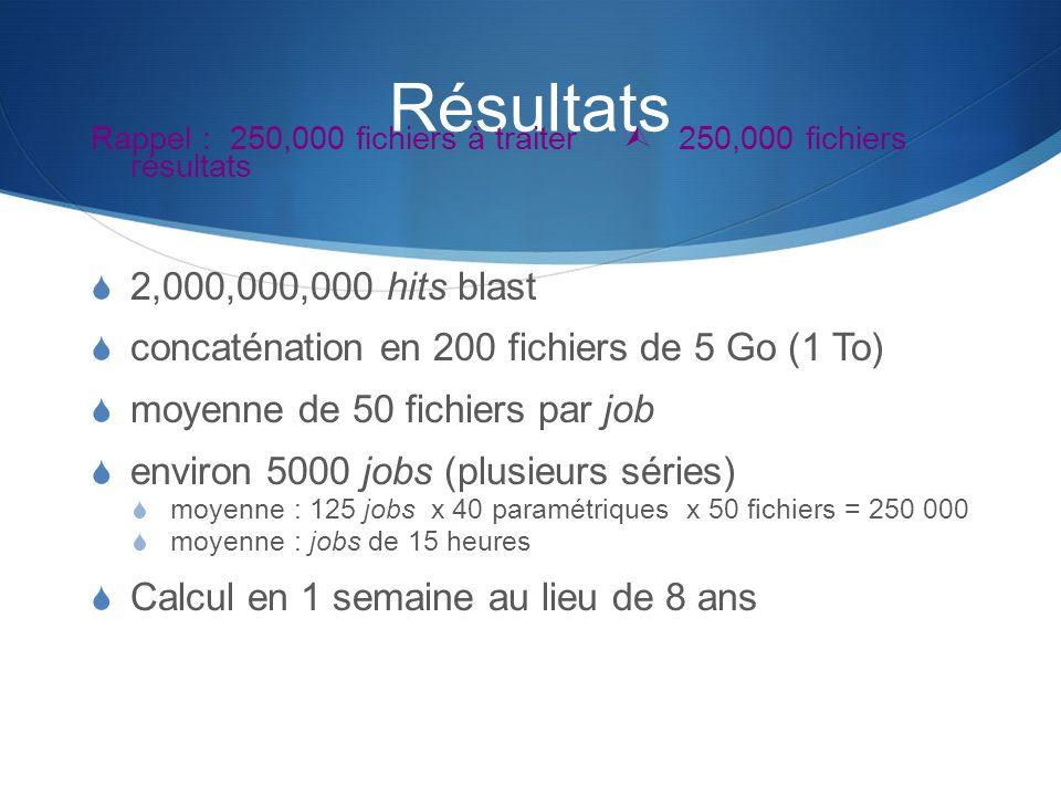 Résultats Rappel : 250,000 fichiers à traiter 250,000 fichiers résultats 2,000,000,000 hits blast concaténation en 200 fichiers de 5 Go (1 To) moyenne