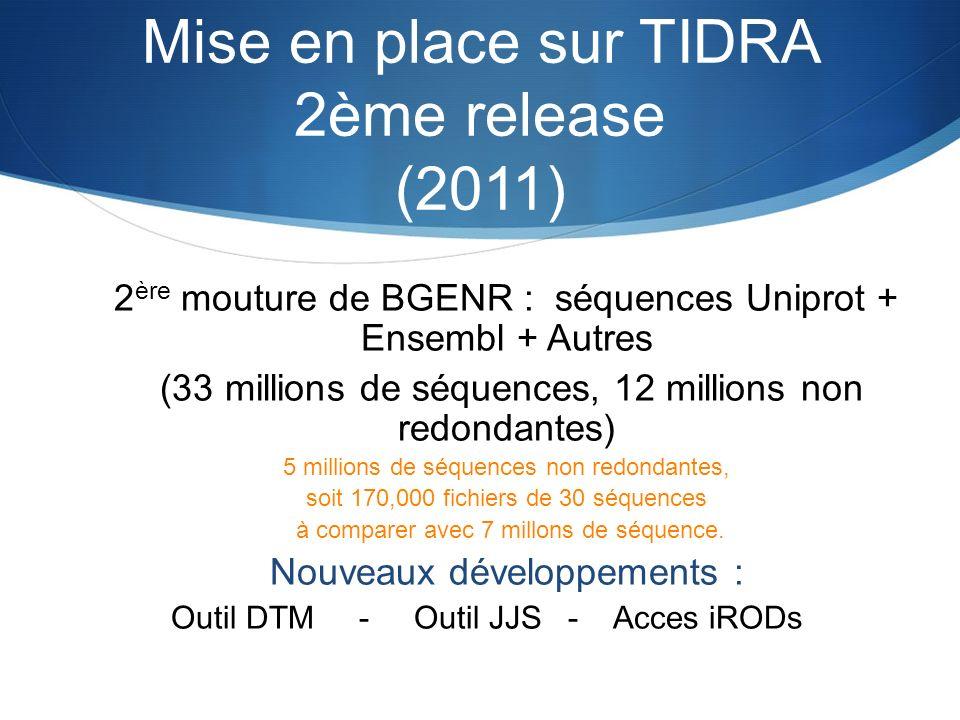 Mise en place sur TIDRA 2ème release (2011) 2 ère mouture de BGENR : séquences Uniprot + Ensembl + Autres (33 millions de séquences, 12 millions non r