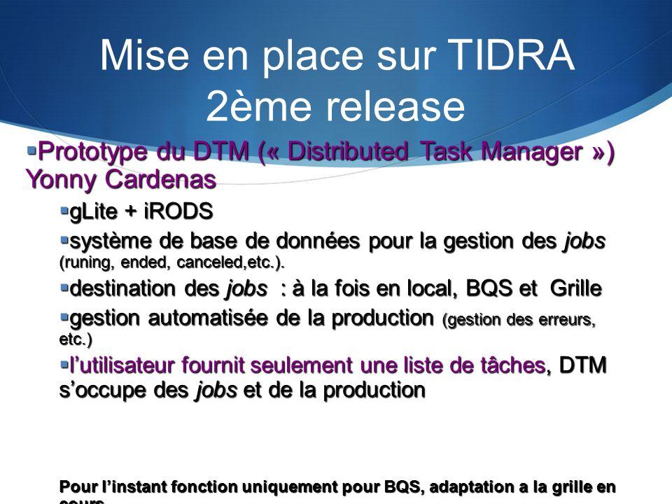 Mise en place sur TIDRA 2ème release Prototype du DTM (« Distributed Task Manager ») Yonny Cardenas Prototype du DTM (« Distributed Task Manager ») Yo