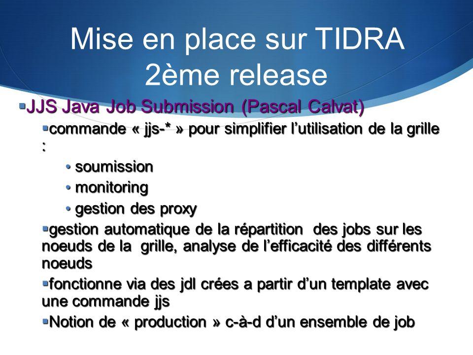 Mise en place sur TIDRA 2ème release JJS Java Job Submission (Pascal Calvat) JJS Java Job Submission (Pascal Calvat) commande « jjs-* » pour simplifie