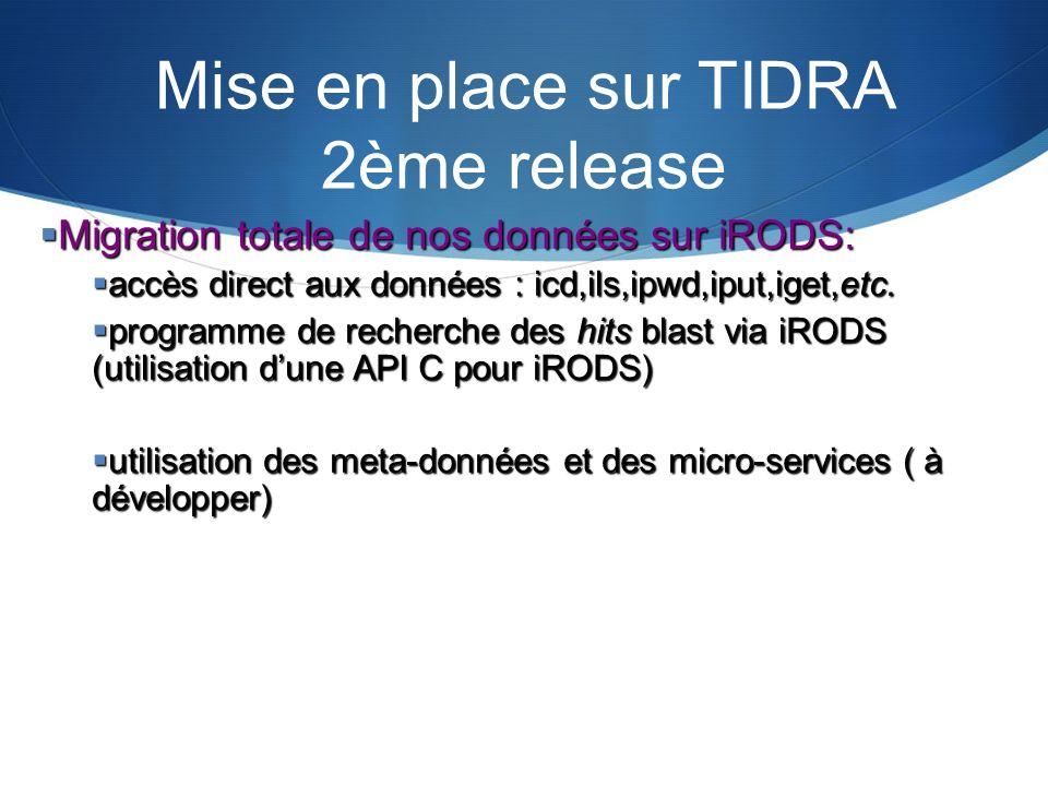 Mise en place sur TIDRA 2ème release Migration totale de nos données sur iRODS: Migration totale de nos données sur iRODS: accès direct aux données :