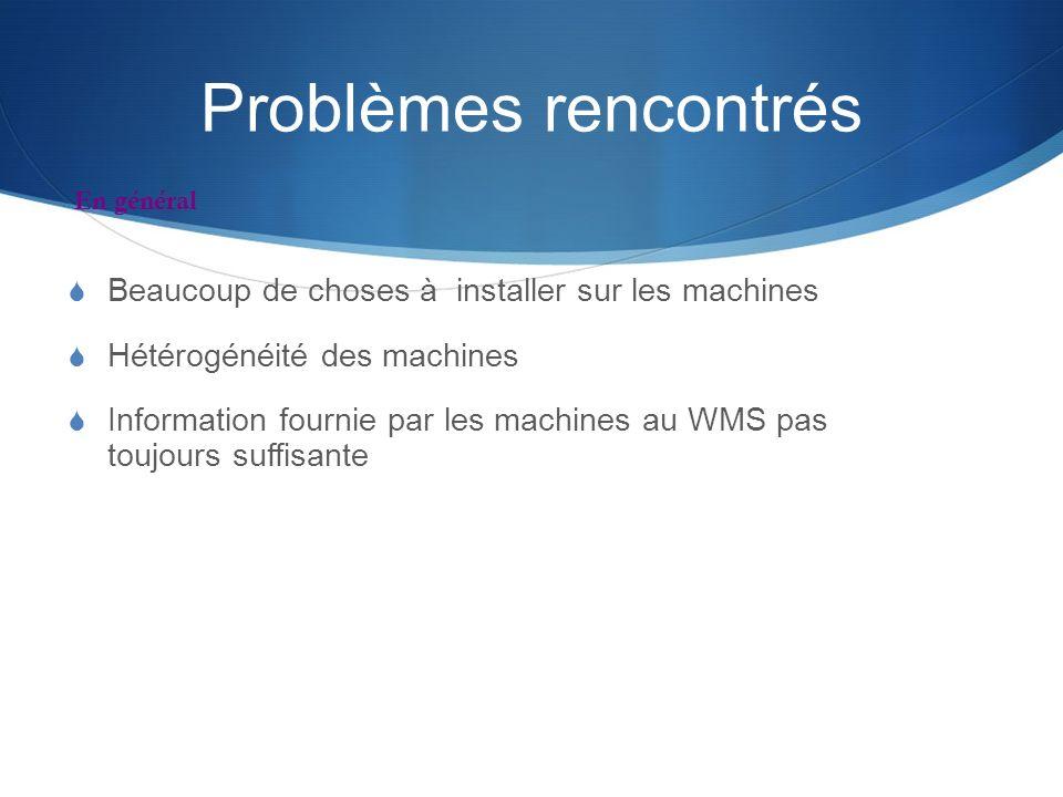 Problèmes rencontrés Beaucoup de choses à installer sur les machines Hétérogénéité des machines Information fournie par les machines au WMS pas toujou