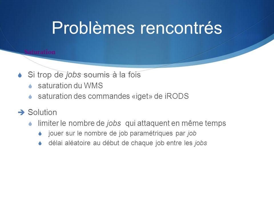 Problèmes rencontrés Si trop de jobs soumis à la fois saturation du WMS saturation des commandes «iget» de iRODS Solution limiter le nombre de jobs qu