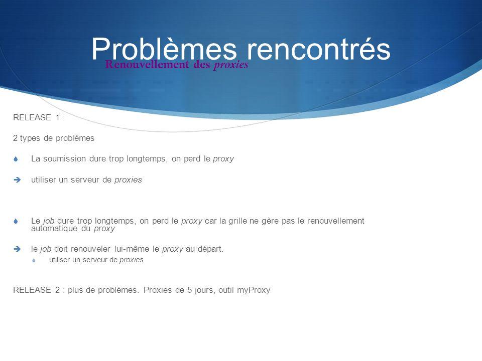 Problèmes rencontrés RELEASE 1 : 2 types de problèmes La soumission dure trop longtemps, on perd le proxy utiliser un serveur de proxies Le job dure t